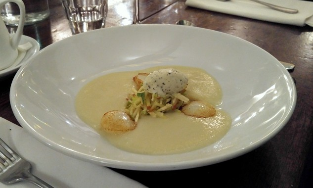 Chilled Granny Smith Apple Soup, Seared Queensland Scallops and Truffled Cream