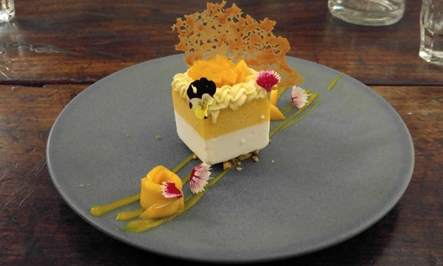 Coconut and Mango Semifreddo, Fresh Mango, Caramelised Hazelnuts
